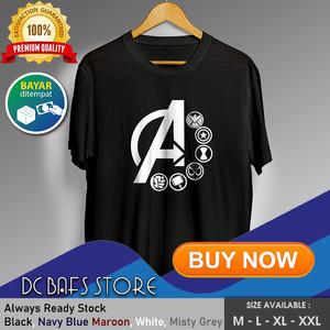 Harga baju kaos tshirt superhero super hero dewasa marvel logo avengers   putih   HARGALOKA.COM