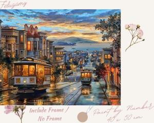 Harga paint by number pemandangan kota dan gunung sore hari   no | HARGALOKA.COM