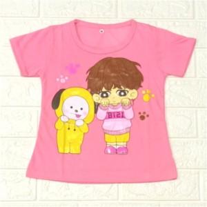 Harga baju kaos anak cewek bt21 untuk anak 1 10 tahun bahan katun   pink   HARGALOKA.COM