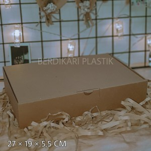 Harga box kardus e flute coklat untuk packaging olshop sovenir baju | HARGALOKA.COM