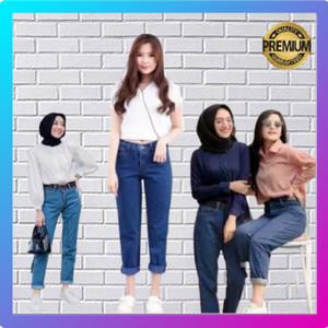 Harga celana boyfriend jeans wanita premium jins denim jens skinny   medium blue | HARGALOKA.COM