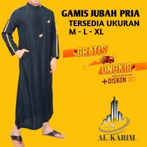 Harga gamis pria jubah koko muslim lis adem cocok ramadhan dan lebaran   htam lis coklat | HARGALOKA.COM