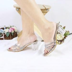 Harga high heels wanita model kaca bahan pu leather murah berkualitas   silver | HARGALOKA.COM