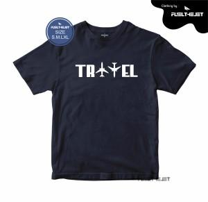 Harga baju kaos tangan pendek distro bandung fuelthejet travel   biru navy | HARGALOKA.COM