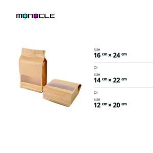 Harga kemasan makanan snack kraft flat bottom window zipper   12 x 20 | HARGALOKA.COM