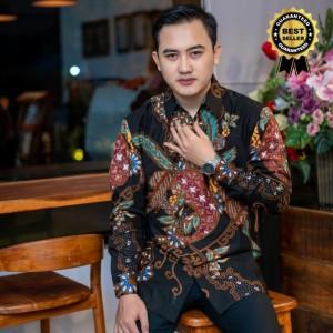 Harga kemeja batik pria lengan panjang batik sadewo batik tulis hitam l2   hitam | HARGALOKA.COM