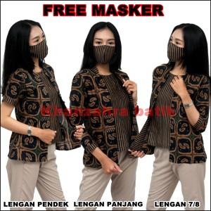 Harga blouse batik wanita atasan batik cantik free masker ready seragam   lengan pendek | HARGALOKA.COM