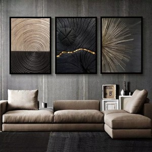 Harga black golden line texture canvas print b set of 3 | HARGALOKA.COM