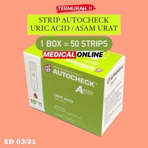 Harga autocheck strip asam urat uric acid isi 50 per box | HARGALOKA.COM