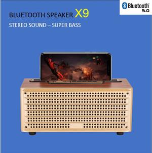 Harga bluetooth speaker with phone holder x9   wooden speaker | HARGALOKA.COM