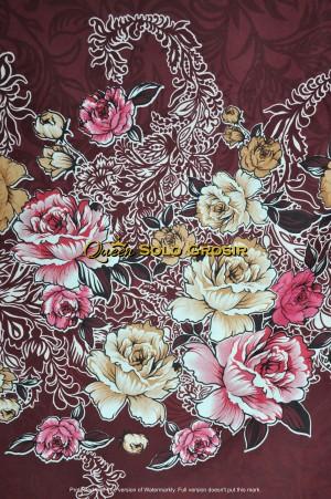 Harga kain bahan sprei sulur mawar maroon | HARGALOKA.COM