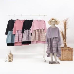 Harga baju dress tunik anak perempuan import murah dres anak cewek 5041   hitam hijau 1 | HARGALOKA.COM