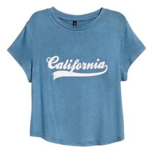 Harga kaos h amp m california jersey crop top tee blue original hnm wanita   | HARGALOKA.COM