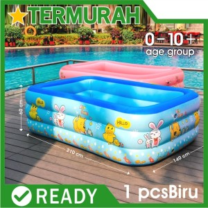 Harga kolam renang anak jumbo kotak biru bestway besar intex 210cm keluarga   biru 210 | HARGALOKA.COM