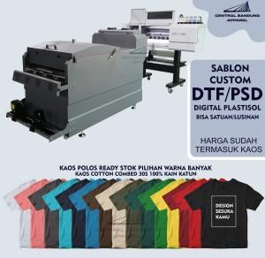 Harga kaos custom sablon dtf psd digital plastisol satuan atau lusinan   s ukuran | HARGALOKA.COM