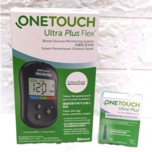 Harga paket alat one touch plus flex 50 test strip alat test gula | HARGALOKA.COM