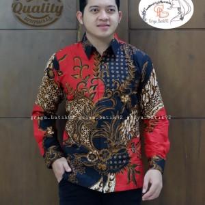 Harga baju pria kemeja hem batik katun lapis furing batik solo sragen jogja   | HARGALOKA.COM