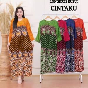 Harga longdress batik wanita dress gamis rayon baju batik | HARGALOKA.COM