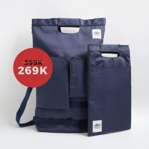 Harga bundle tas ransel tas selempang tas ipad mojji shiro biru | HARGALOKA.COM