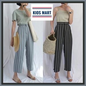 Harga k2098 celana panjang wanita kulot motif garis salur import   | HARGALOKA.COM