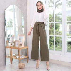 Harga celana kulot plisket pleated pants dewasa kreasi mode 350001   abu tua all | HARGALOKA.COM