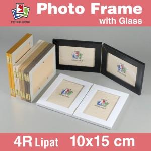 Harga bingkai foto 4r lipat minimalis pakai kaca   photo frame fm25   hitam | HARGALOKA.COM