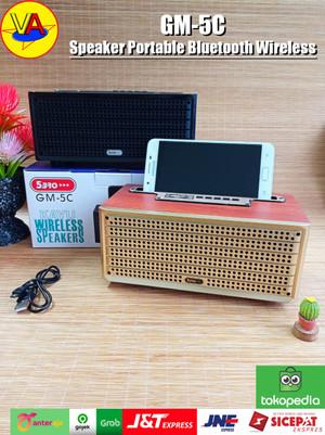 Harga speaker bluetooth portable gm 5c speaker kayu wireless speaker   | HARGALOKA.COM