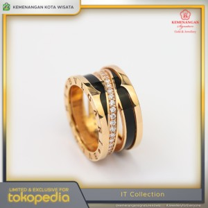 Harga cincin emas it collections model cat hitam rosegold size 15 | HARGALOKA.COM