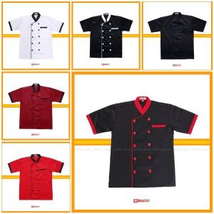 Harga baju koki chef pria wanita lengan pendek bahan drill rafly jaya   putihlisthitam | HARGALOKA.COM