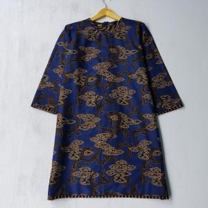 Harga baju batik wanita nk batik tunik jumbo amanda furing   biru | HARGALOKA.COM
