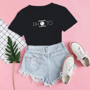 Harga baju kaos distro photo blus wanita photo t shirt casual photo   xs | HARGALOKA.COM