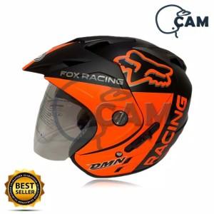 Harga helm motor sni double visor fox racing black doff | HARGALOKA.COM