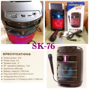 Harga speaker bluetooth mic sk 76 wireless | HARGALOKA.COM