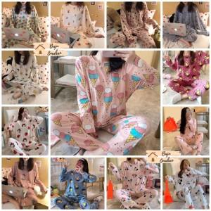 Harga bt001 baju tidur piyama lengan celana panjang import lucu cantik impor   motif random m atau | HARGALOKA.COM