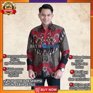 Harga baju kemeja batik pria lengan panjang pendek modern pesta kantoran g28   | HARGALOKA.COM