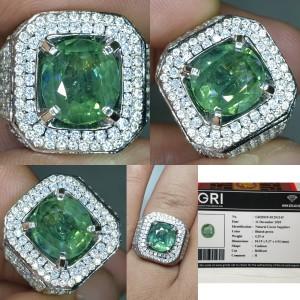 Harga batu sapphire safir memo gri green top luster 4 25ct | HARGALOKA.COM