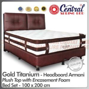 Harga spring bed central gold titanium plush top bed set headboard armani   100 x 200 | HARGALOKA.COM