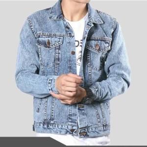 Harga jaket jeans pria dewasa murah berkualitas snow blue   | HARGALOKA.COM