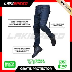 Harga celana jeans bikers pria touring murah berkualitas dengan 4 protector   biru | HARGALOKA.COM