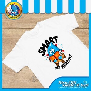 Harga baju kaos t shirt atasan distro smart fashion wanita pria   biru ori   | HARGALOKA.COM
