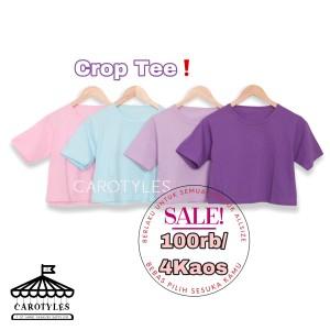 Harga kaos crop top polos tumblr tee atasan baju t shirt wanita cewek   | HARGALOKA.COM