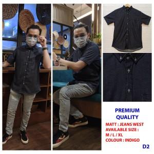 Harga hits kemeja denim pria lengan pendek jeans wash premium murah   d2 | HARGALOKA.COM