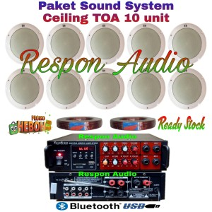 Harga paket speaker ceiling toa sound system indoor restoran kafe 10 pcs   HARGALOKA.COM