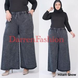 Harga celana panjang kulot jeans denim snow jumbo xl fit xxl   black | HARGALOKA.COM