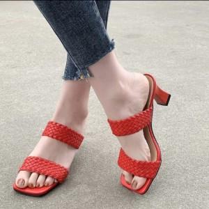 Harga sandal heels wanita 7cm 007 heels cewek elegan fashion korea impor   merah | HARGALOKA.COM