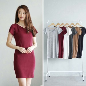 Harga rib knit bodycon dress   abu abu | HARGALOKA.COM