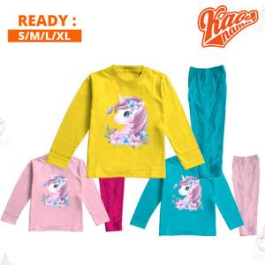 Harga baju tidur piyama anak perempuan lengan panjang art unicorn lucu   kuningturkish anak   HARGALOKA.COM