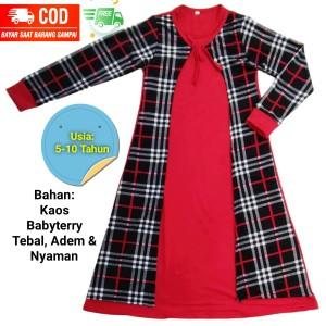 Harga gamis anak perempuan gamis anak cardigan baju anak usia 5 10 tahun   merah cardigan xl 7 8 | HARGALOKA.COM