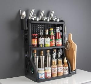 Harga rak dapur 3 susun portable plastik tempat bumbu dapur serbaguna   HARGALOKA.COM