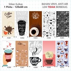 Harga stiker kulkas laminating doff   cofee time   kulkas 1   HARGALOKA.COM